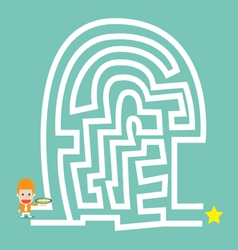 Businessman hold compass go to the maze cartoon vector image