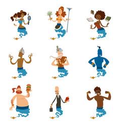 Cartoon genie character magic lamp vector