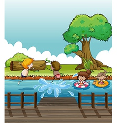 Children having fun at the river vector image vector image