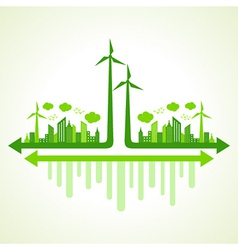 Ecology concept with wind mill vector image