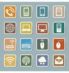 Icon set of mobile devices computer and network c vector image