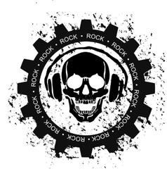ROCK SKULL HEADPHONES vector image