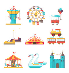 set of amusement park elements on white background vector image