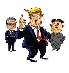donald trump kim jong un moon jae in cartoon vector image vector image