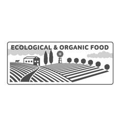horizontal farm fields logo badge label vector image