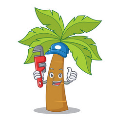 plumber palm tree character cartoon vector image vector image
