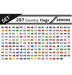 set 207 country flags arrows vector image