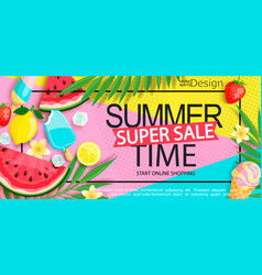 Super sale banner with gourmet food vector