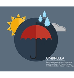 umbrella with season weather sign with long shadow vector image vector image