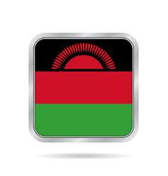 flag of malawi shiny metallic gray square button vector image