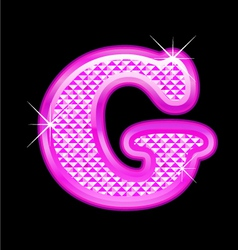G letter pink bling girly vector image vector image