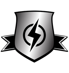 shield with lightning - power symbol vector image vector image