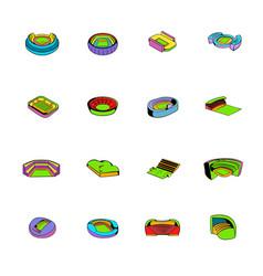 stadium set icons set cartoon vector image