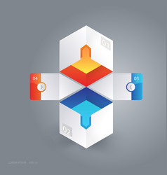 Abstract 3d cubic infographic vector
