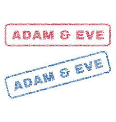 Adam eve textile stamps vector