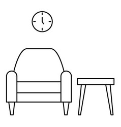 armchair and table icon outline style vector image