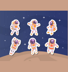 astronaut stickers set cute cosmonaut in outer vector image