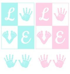 bahand print and footprint vector image