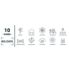 big data icon set include creative elements cloud vector image