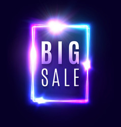 big sale bright 3d neon square discount sign vector image