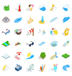 Big water icons set isometric style vector