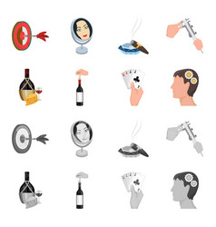 bottle a glass of wine and cheese clogging with vector image