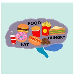 Brain organ display fast food menu concept vector