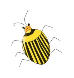 Bright striped yellow beetle in the style of vector