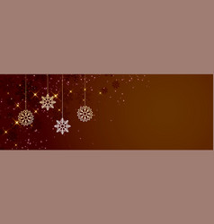 brown christmas snowflakes banner with text space vector image
