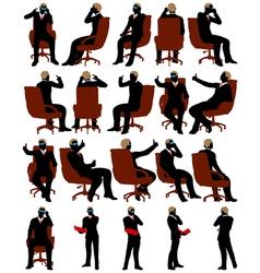 Business men silhouette set vector image vector image