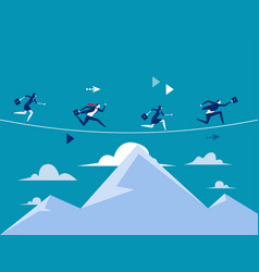Business people running over mountain concept vector