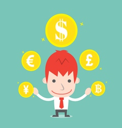 Businessman and foreign currency cartoon business vector
