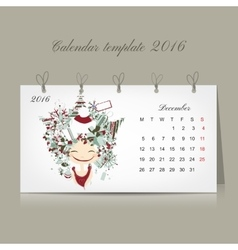 Calendar 2016 december month Season girls design vector image