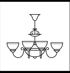 Ceiling lamp in outline style vector