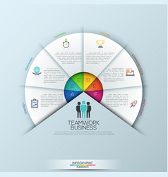circular infographic design template with 6 vector image