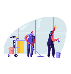 cleaning service female characters sweeping vector image