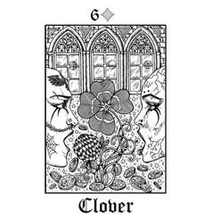 Clover tarot card from lenormand gothic vector
