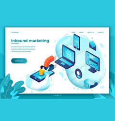 Concept inbound marketing man with magnet vector
