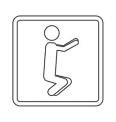 Contour square shape pictogram with man squat icon vector