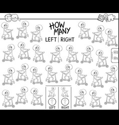 Counting left and right pictures girl vector
