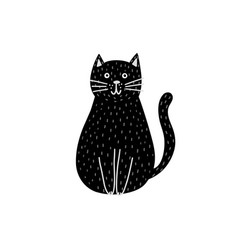 cute black cat isolated element funny feline vector image
