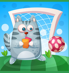 cute cat with rad yellow card play football vector image