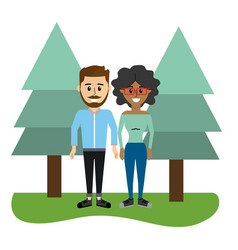 cute couple together with casual clothes vector image