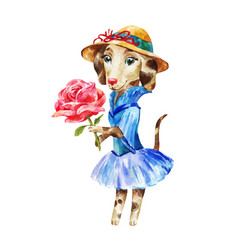 cute dog in a dress and hat with large pink rose vector image