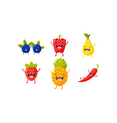 cute fruit and vegetables characters set vector image