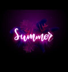 dark blue and violet neon tropical design vector image