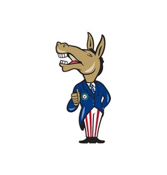 Democrat Donkey Mascot Thumbs Up Cartoon vector image