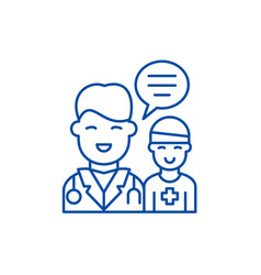 doctors help to the patient line icon concept vector image