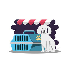 Dog with cage icon vector