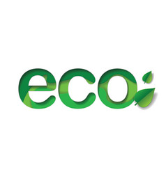 eco word in layered paper art vector image